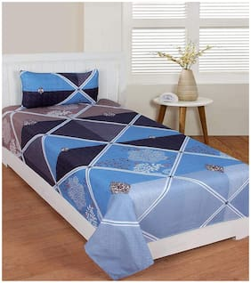 Morado Cotton Printed Single Size Bedsheet 400 TC ( 1 Bedsheet With 1 Pillow Covers , Blue )