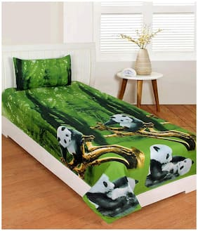 Morado Cotton Printed Single Size Bedsheet 400 TC ( 1 Bedsheet With 1 Pillow Covers , Green )
