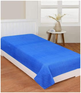 Morado 400 TC Solid Flat Single Bedsheet ( Blue , Pack of 1 )