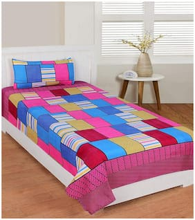 Morado Cotton Checkered Queen Size Bedsheet 400 TC ( 1 Bedsheet With 1 Pillow Covers , Pink )