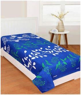 Morado Cotton Floral Single Size Bedsheet 400 TC ( 1 Bedsheet Without Pillow Covers , Blue )