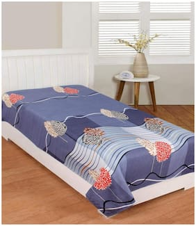 Morado Cotton Floral Single Size Bedsheet 400 TC ( 1 Bedsheet Without Pillow Covers , Blue )