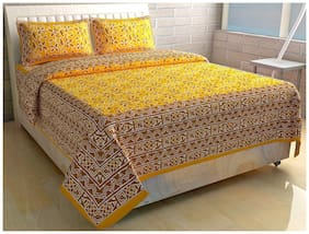 Morado Cotton Printed Double Size Bedsheet 144 TC ( 1 Bedsheet With 2 Pillow Covers , Yellow )
