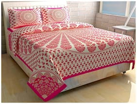 Morado Cotton Printed Double Size Bedsheet 144 TC ( 1 Bedsheet With 2 Pillow Covers , Pink & Beige )