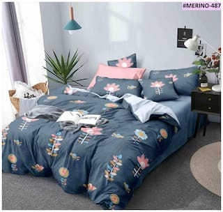 Morado Cotton Floral Double Size Bedsheet 400 TC ( 1 Bedsheet With 2 Pillow Covers , Multi )