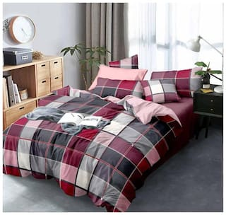 Morado Cotton Checkered Double Size Bedsheet 400 TC ( 1 Bedsheet With 2 Pillow Covers , Maroon )