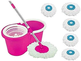Morado Mop Floor Cleaner with Bucket Set Offer for Best 360 Degree Easy Magic Cleaning;Green with 5 Microfiber