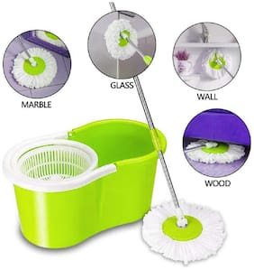 Morado Mop Floor Cleaner with Bucket Set Offer for Best 360 Degree Easy Magic Cleaning;Green with 3 Microfiber