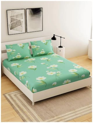 Morado Microfiber Floral Double Size Bedsheet 125 TC ( 1 Bedsheet With 2 Pillow Covers , Multi )
