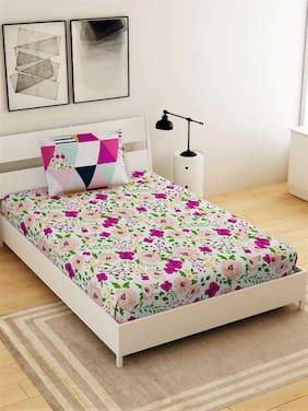Morado Microfiber Floral Single Size Bedsheet 104 TC ( 1 Bedsheet With 1 Pillow Covers , Multi )