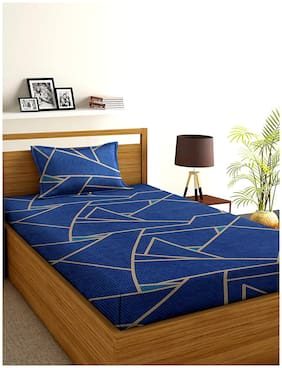 Morado Cotton Geometric Single Size Bedsheet 300 TC ( 1 Bedsheet With 1 Pillow Covers , Blue )