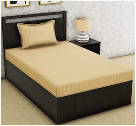 Morado Cotton Geometric Single Size Bedsheet 300 TC ( 1 Bedsheet With 1 Pillow Covers , Yellow )