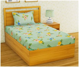 Morado Cotton Floral Single Size Bedsheet 300 TC ( 1 Bedsheet With 1 Pillow Covers , Green )