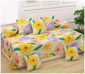 Morado Poly cotton Floral Single Size Diwan Sets - Pack of 8