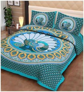 Morado Cotton Rajasthani Jaipuri Print Double Size Bedsheet 144 TC ( 1 Bedsheet With 2 Pillow Covers , Green )