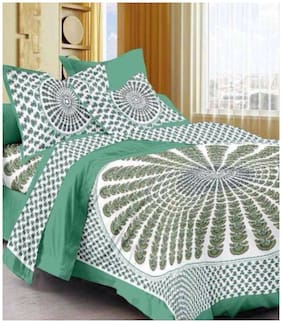 Morado Cotton Floral Double Size Bedsheet 144 TC ( 1 Bedsheet With 2 Pillow Covers , White & Green )