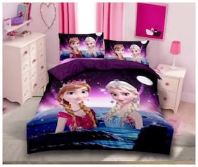 Morado Cotton Kids Double Size Bedsheet 144 TC ( 1 Bedsheet With 2 Pillow Covers , Multi )