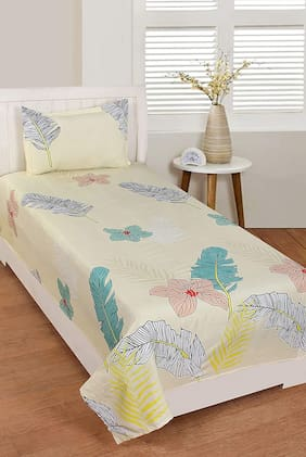 Morado Cotton Floral Single Size Bedsheet 180 TC ( 1 Bedsheet With 1 Pillow Covers , White )