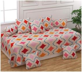 Morado Cotton Geometric Single Size Diwan Sets - Pack of 8