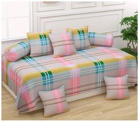 Morado Cotton Checkered Single Size Diwan Sets - Pack of 8