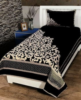 Morado Velvet Floral Single Size Bedsheet 200 TC ( 1 Bedsheet With 1 Pillow Covers , Black )