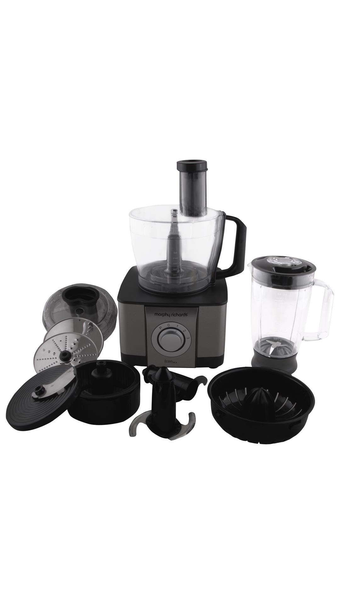 Morphy Richards Icon DLX 1000 W Food Processor (Steel Black)