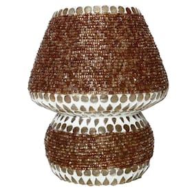 Gifts n Decor Brown Shade Mosaic Style Dome shaped Glass Table Lamp with 40 W Incandescent Bulb For Corporate Gift and Home Decor