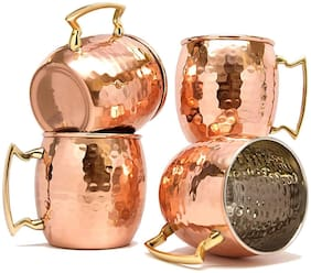 Moscow Mule Copper - Solid Hammered Copper for Moscow Mule Cocktail - 16oz - 500 ml Copper Mug (500 ml, Pack of 4pc)