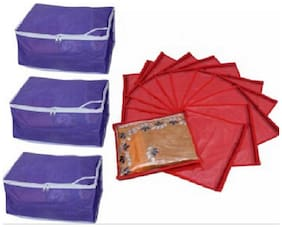 MOTHERLAND Regular Spacious Cover in Set of 3 & Single Saree Cover (Set of 12)
