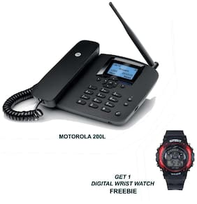 Motorola 200L Wireless GSM Landline Phone ( Black ) with Digital Watch
