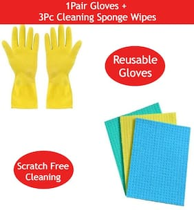 MPI 1 Pair Waterproof Cleaning Household Gloves with 3Pc Cellulose Cleaning Sponge Wipes
