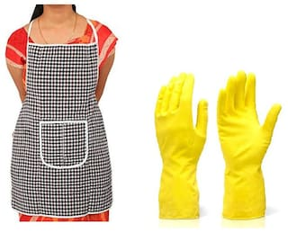 MPI Cotton Aprons & gloves set Assorted ( Pack of 2 )