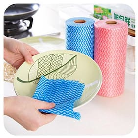 MPI Reusable Super Absorbent Non Scratchable Cleaning Wipes Roll (80 Pulls - 23x21 cm each)
