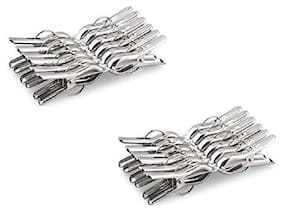 MPI Stainless Steel Multipurpose/Cloth Clip/Cloth Pegs/Laundry/Home Pack of 24 pc