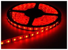 QUXXA 5meter 15foots Strip Light Waterproof Dustproof Led Strip Light With Adapter Red Color