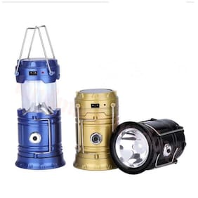 QUXXA 6+1 LED Electric & Solar Power Rechargeable with Phone Charger Lantern Emergency Light (Assorted)