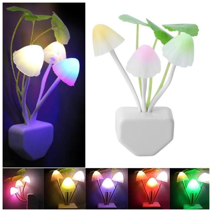 QUXXA Light Sensor Color Changing Mushroom Night Lamp