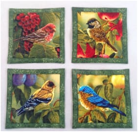 Mug Rug Coasters Song Birds 4.5    By 4.5    Handmade Quilted Set Of 4 100% Cotton.