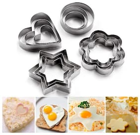 Mukta Enterprise 12 pcs Cookie Cutter Stainless Steel Cookie Cutter With different Shape