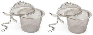 Mukta Enterprise Stainless Steel Tea Filter Infuser, 6.5cm, Silver pack of 2