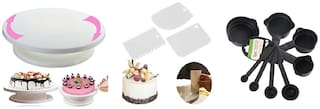 Mukta Enterprise Cake Decorating Stand With Cup Spoon And Cake Scrapper (Set of 12)