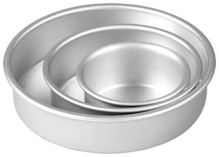 MUKTA ENTERPRISE Aluminium Silver Bakeware combos ( Set of 3 )