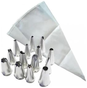 Mukta Enterprise Cakeware 12 Piece Cake Decorating Set Frosting Icing Piping Bag Tips With Steel Nozzles