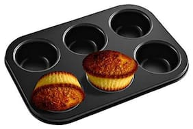 Mukta Enterprise Carbon Steel Cup Cake Tray For 6 Muffins Bakeware(Black)