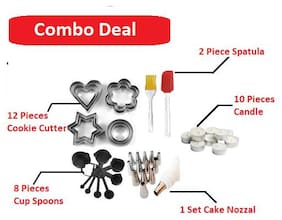 Mukta Combo Black Measuring Cups And Spoons Set Silicone Series Spatula And Brush Cookie Cutter Iceing Bag With Nozzal Candle