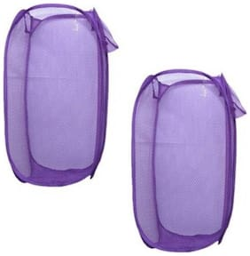 VAGMI Polyester Assorted Laundry Basket ( Set of 2 )