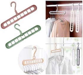 Multi-Function Nine-Hole Rotating Hanger Space Saving Folding Magic Clothes Hanger (2Pc)  Color Sent Stock Availability