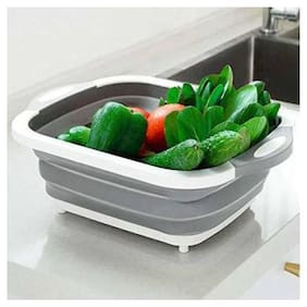 Ossden Multi Function Collapsible Vegetable Cutting Board  Plate  Washing Bowl Tub  Drain Basket/Basin,3 in 1 Sink Folding Chopping Board for Kitchen