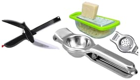 Multi Functional 2 in 1 Kitchen Vegetable Clever Cutter, Lemon Citrus Squeezer | Bottle Opener and Mini Cheese Garlic Ginger Grater with Storage Container (Assorted Color)