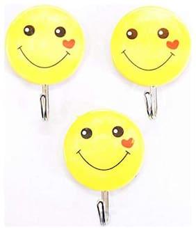 Multi Purpose Hook for Shirt Key Tie Holder Hooks for Wall Clothes Kitchen Bathroom Smiley Design Hook , Load Capacity 3kg, (Set of 3)